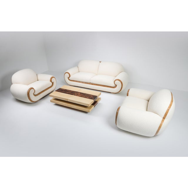 Vivai Del Sud Sofa in Bouclé Wool and Rattan For Sale - Image 11 of 12