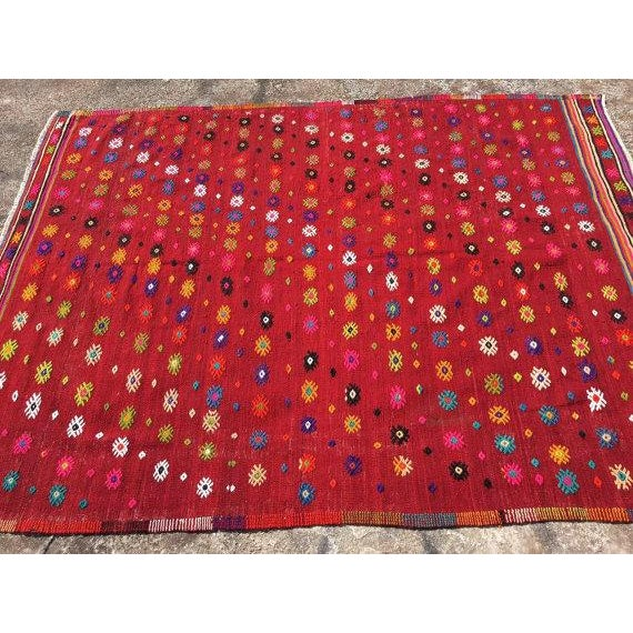 Vintage Turkish Kilim Rug - 6′ × 7′11″ For Sale - Image 4 of 6