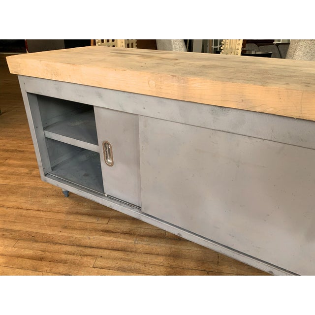 Gray Vintage Industrial Steel Cabinet With Butcher Block Top For Sale - Image 8 of 10