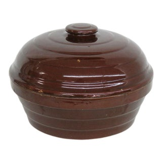 Brown Stoneware Usa Vintage Casserole Cooking Dish With Lid 1630b For Sale