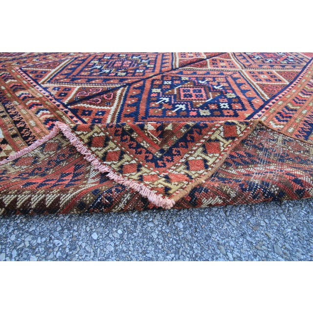 "Vintage Oushak Turkoman Persian Nomad Rug - 5'11"" x 10'6"" For Sale - Image 5 of 5"