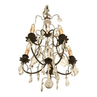 French Vintage Five-Light Bronze Chandelier For Sale