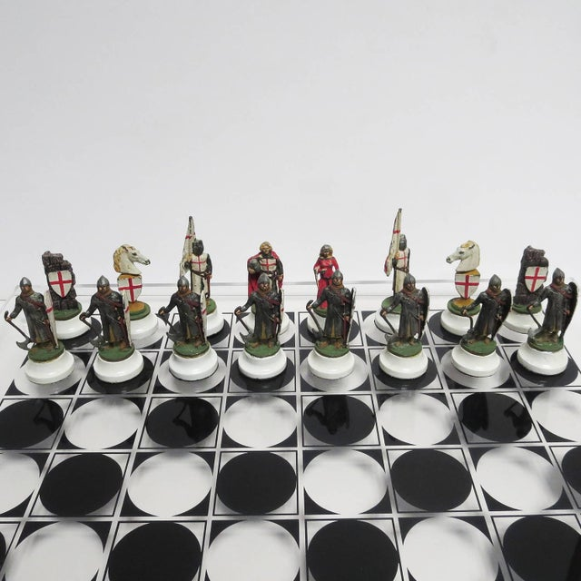 Figurative Chess Set With Painted Lead Medieval Figures on Lucite Board For Sale - Image 3 of 9