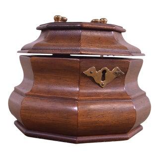 Colonial Williamsburg Style Octagonal Mahogany Tea Caddy For Sale