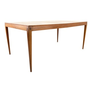 Kipp Stewart for Calvin Mid Century Walnut Inlaid 10 Person Dining Table For Sale
