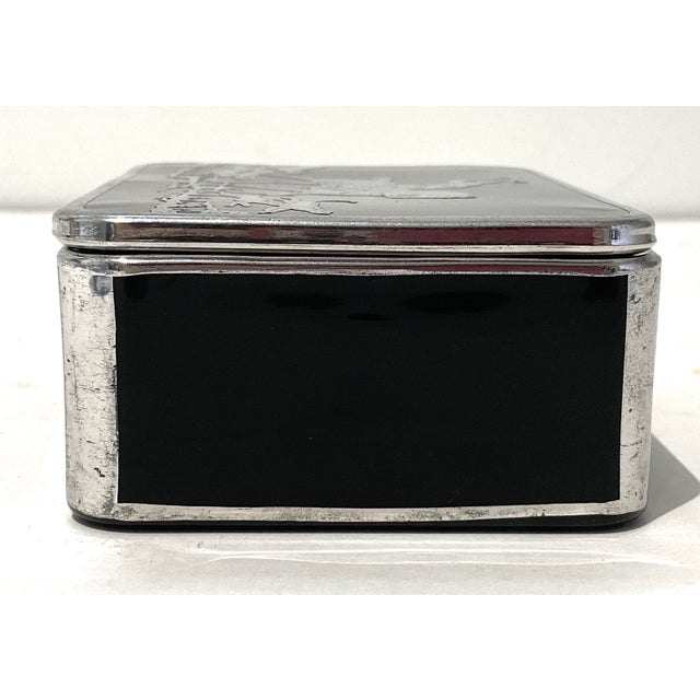 Art Deco English Sterling Silver Black Glass Box Fox Hunt For Sale - Image 10 of 13