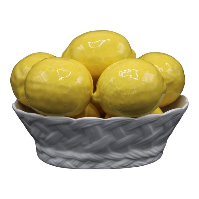 Italian Ceramic Lemon Basket For Sale