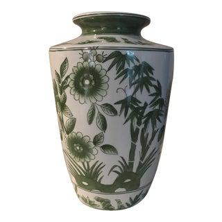 Vintage Green and White Porcelain Vase