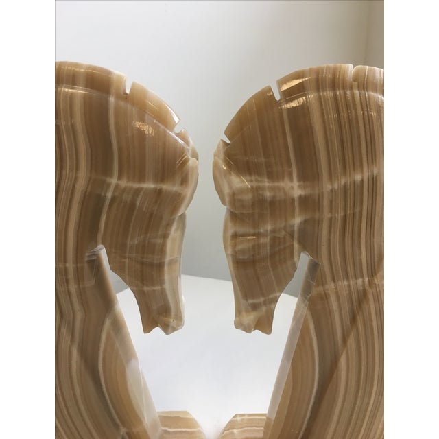 Stone Horse Head Bookends Carved Onyx Stone - a Pair For Sale - Image 7 of 10