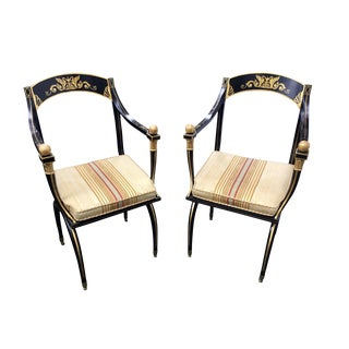 1920s Vintage English Regency Gilt Accent Chairs -- a Pair For Sale