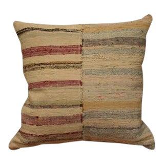 1970s Vintage Striped Rag Rug Pillow For Sale