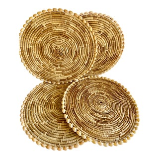 Boho Sea Grass & Shell Placemats, Set of Four For Sale