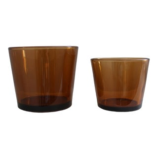 Mid-Century Modern Tawny Glass Candle Holders- Set of 2 For Sale
