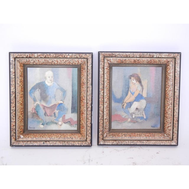 Very unique set of two contemporary paintings. These pieces would look great in a study room or hallway.