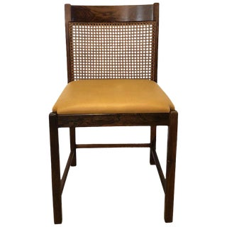 Pair of Brazilian Rosewood Chairs With Original Caned Backs and Leather Seats For Sale