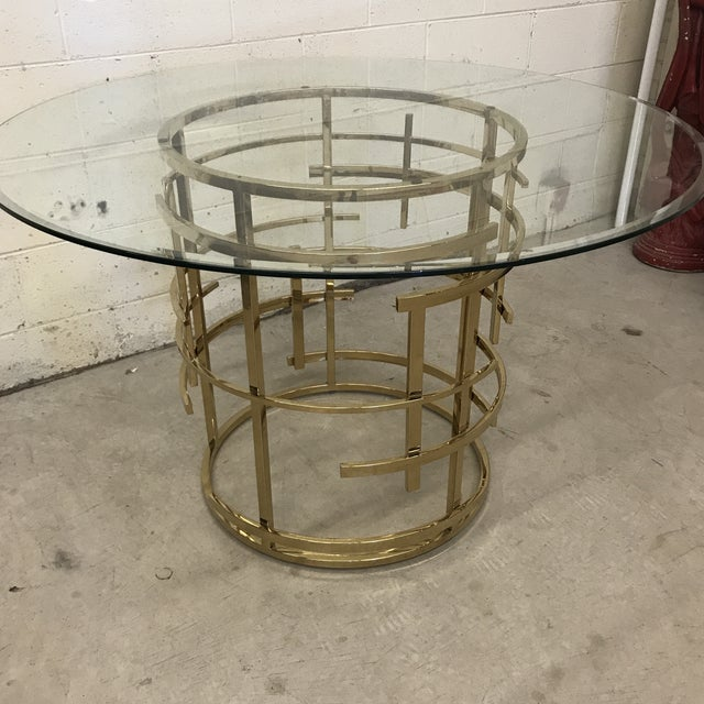 Contemporary Mitchell Gold Glass and Brass Dining Table- Round For Sale - Image 3 of 10