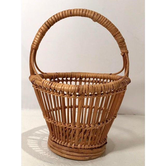 Boho Chic Vintage Handled Basket For Sale - Image 3 of 7