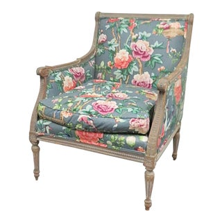 Louis XVI Gray Paint Distressed Bergere For Sale
