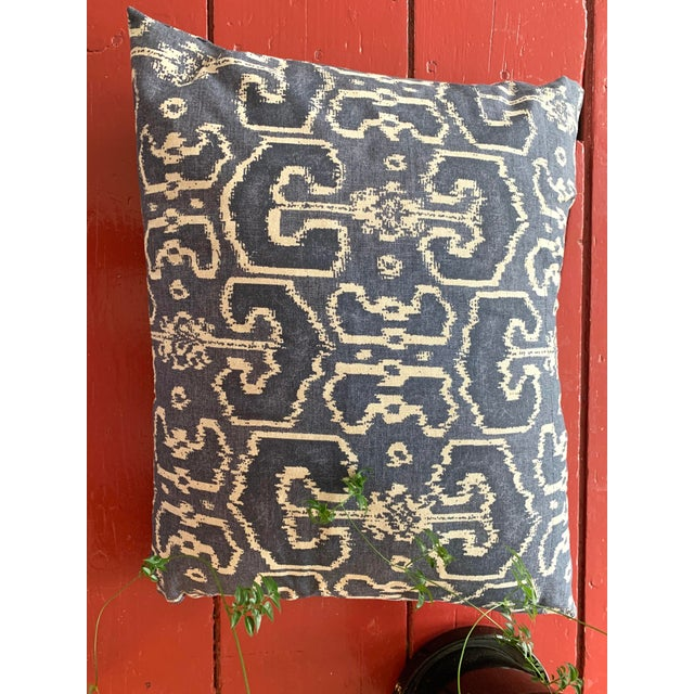 Navy Ikat Throw Pillows- A Pair For Sale In Providence - Image 6 of 8