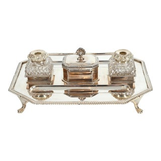 Vintage English Silver Plated / Copper Footed Inkwells - 3 Pc. Set For Sale
