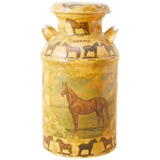 Equine Decoupage Decorated Dairy Farm Milk Jug For Sale