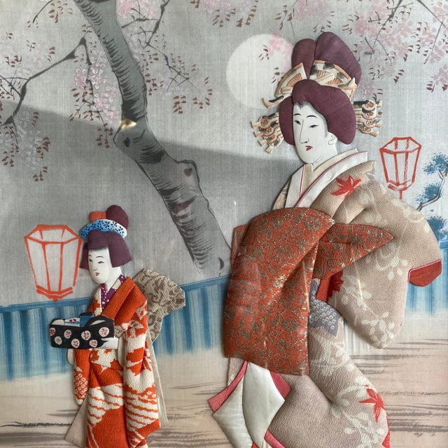 Japanese Traditional Japanese Silk & Brocade Art, Framed For Sale - Image 3 of 13