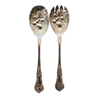Sheffield SIlverplate Repousse Salad Set in Kings Pattern - a Pair For Sale