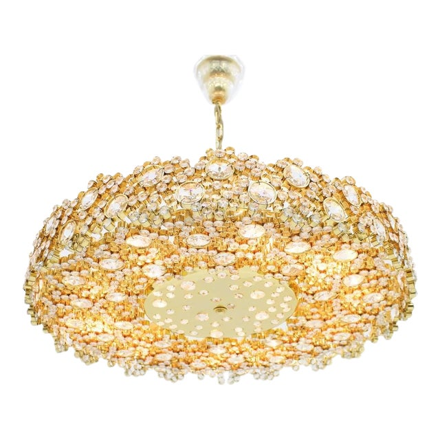 Large Gilded Brass and Crystal Glass Chandelier by Palwa, Germany 1960s For Sale
