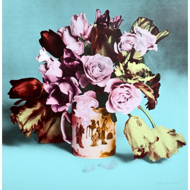 Pop Art Roses and Tulips in Chinese Mug (Turquoise) Screenprint For Sale - Image 3 of 3