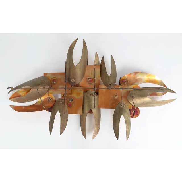 BRUTALIST 1970S WALL SCULPTURE IN ENAMEL AND BRASS For Sale - Image 4 of 8
