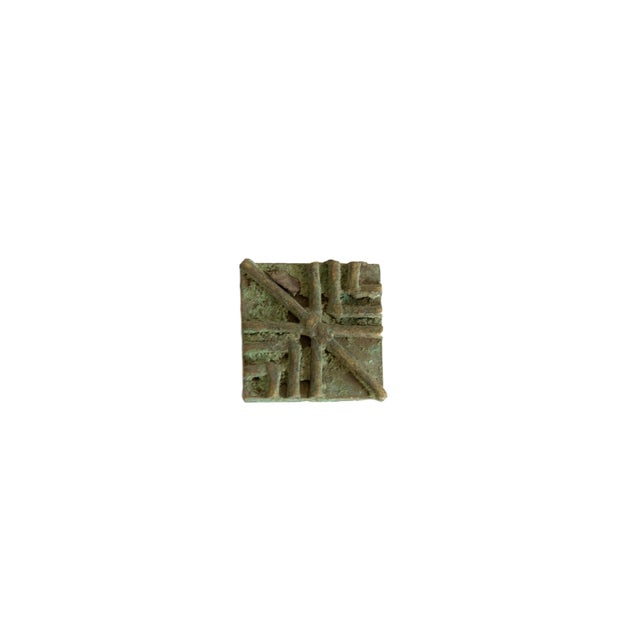 Mid 20th Century Vintage African Square Oxidized Bronze Coin For Sale - Image 5 of 5