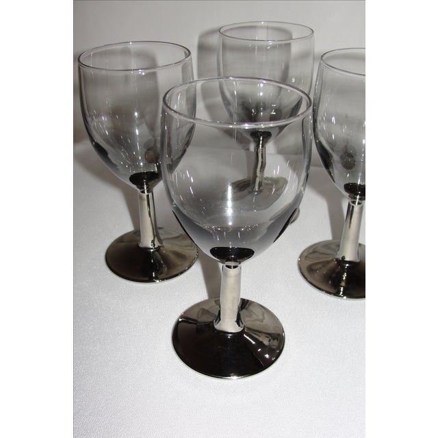 Vintage Petite Wine Glasses Marked France Silver Gray Stems - 4 For Sale - Image 11 of 11