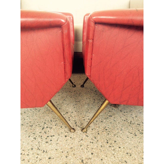 Red 1960s Vintage Italian Gio Ponti Style Chairs - A Pair For Sale - Image 8 of 11
