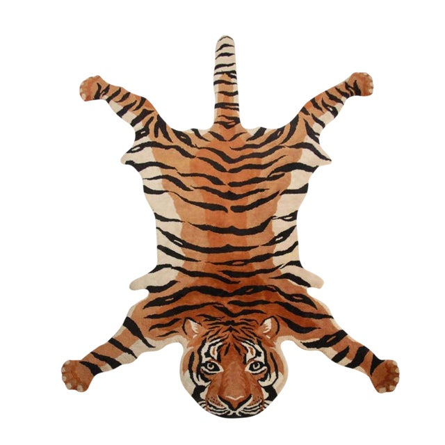 Vintage Wool Tiger Rug - Image 1 of 6
