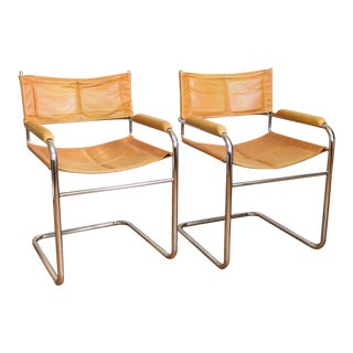 Mustard Yellow Leather and Chrome Cantilever Chairs - a Pair
