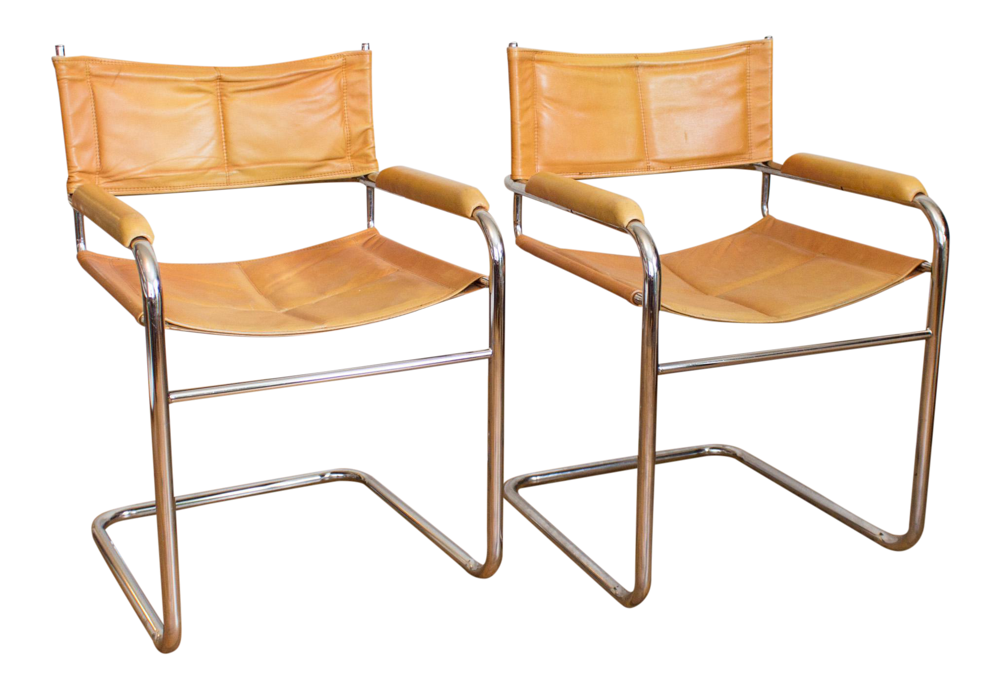 Mustard Yellow Leather And Chrome Cantilever Chairs   A Pair