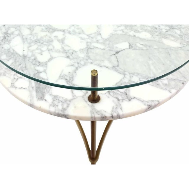 Two Tier Brass Marble & Glass Top Occasional Table For Sale - Image 4 of 7