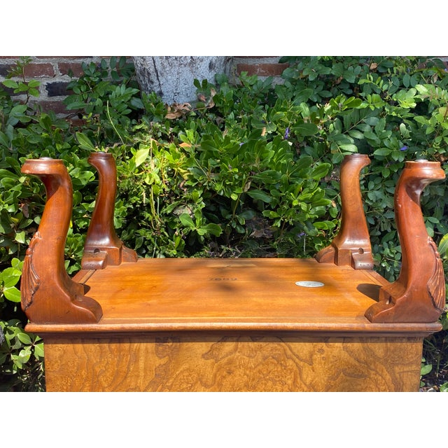 1980s Baker Furniture Queen Anne Burl Wood and Mahogany Magazine Rack For Sale - Image 10 of 13