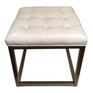 Modern Leather Tufted Ottoman For Sale