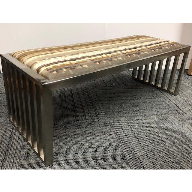Chrome Museum Brushed Chrome Modern Bench For Sale - Image 7 of 7