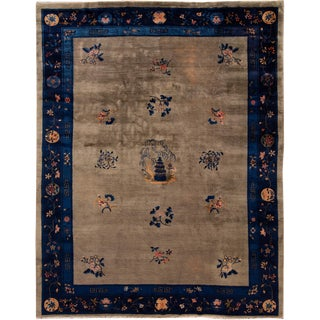 Early 20th Century Antique Art Deco Chinese Wool Rug 9 X 12 For Sale