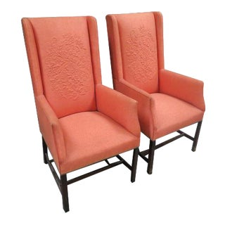 1960s Vintage Peach Wing Chairs- A Pair For Sale