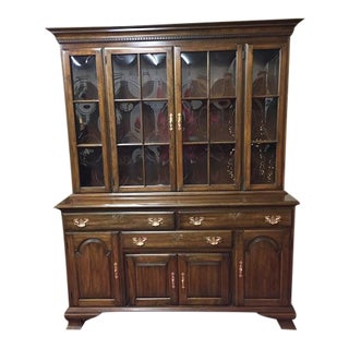 1970s Pennsylvania House Bubble Glass Hutch Cabinet For Sale