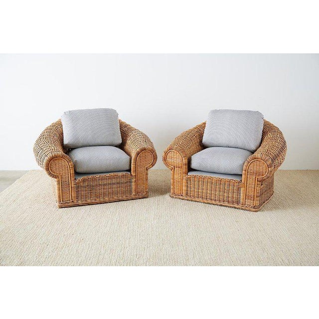 Contemporary Michael Taylor Style Wicker Lounge Chairs With Ottoman For Sale - Image 3 of 13