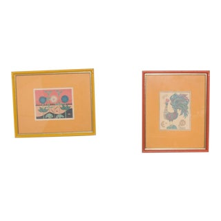 Midcentury Pair Art Prints Bright Rooster and Flower Orange and Yellow For Sale