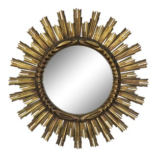 Italian Gilt Wood Sunburst Mirror C. 1930's For Sale