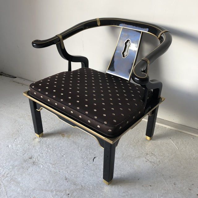 "Japanese Asian Style Black Lacquer ""Hickory"" Arm Chair For Sale - Image 3 of 12"