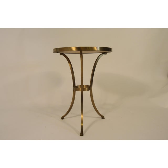 Mid-Century Modern Solid Brass Gueridon Drink Table With Marble Top For Sale - Image 3 of 8