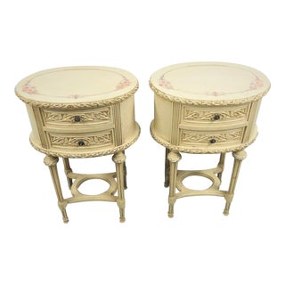 Louis XVI Cream Carved Nightstands - a Pair