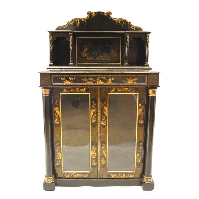 English Regency style (19th Cent) black lacquered Chinoiserie design 2 door sideboard cabinet with upper section. (similar...